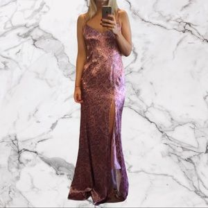 Cinq a sept long satin pink paisley gown 4